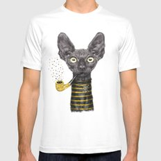 Black Cat LARGE White Mens Fitted Tee