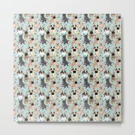 Floral Frenchie Metal Print