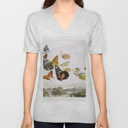 The Fairy Queen Takes an Airy Drive in a Light Carriage, a Twelve–in–hand, drawn by Thoroughbred Butterflies (1870) by Richard Doyle. Unisex V-Neck