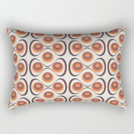 Orange, Brown, and Ivory Retro 1960s Circular Pattern Rectangular Pillow