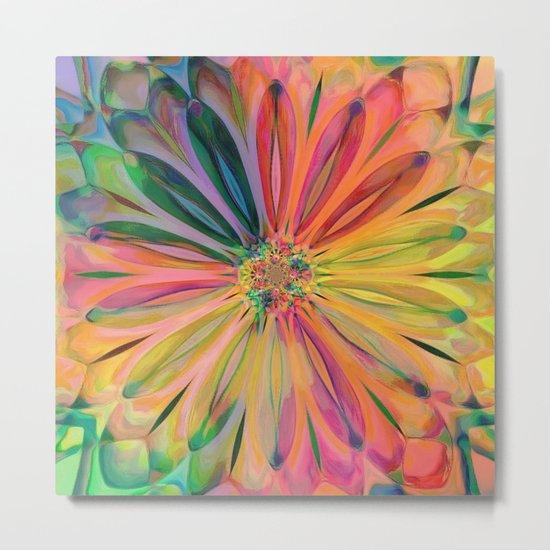 Tropical Rainbow Daisy Metal Print