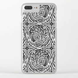 Tree motif in black in white Clear iPhone Case