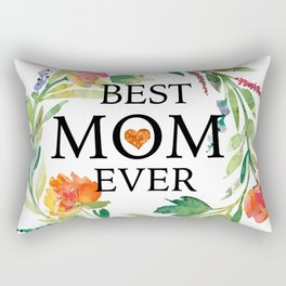 Best mom ever text-colorful wreath Rectangular Pillow