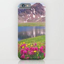 Indian paintbrush/Alpine Lake below Independence Pass, Colorado iPhone Case