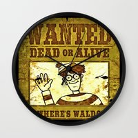 waldo Wall Clocks featuring Where's Waldo Wanted Poster by Silvio Ledbetter
