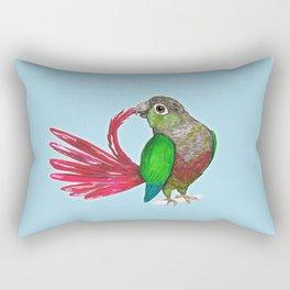 Preening green cheek conure Rectangular Pillow