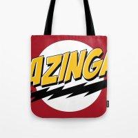 bazinga Tote Bags featuring Bazinga by Maxx Hendriks
