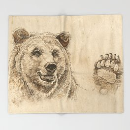 Grizzly Bear Greeting Throw Blanket