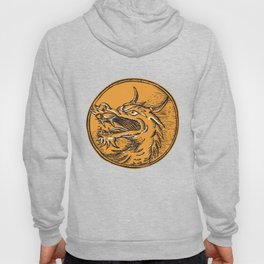 Chinese Dragon Head Circle Etching Hoody