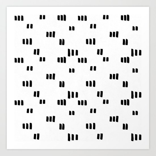 Line Dot Black Paint on Paper Art Print