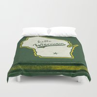 wisconsin Duvet Covers featuring Hello Wisconsin by Yellow 13