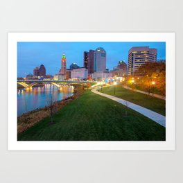 Columbus Downtown Skyline Along the River Art Print