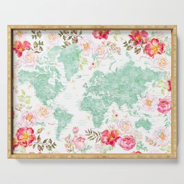 Mint green and hot pink watercolor world map with cities Serving Tray