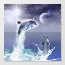 Dolphins and Planets Canvas Print