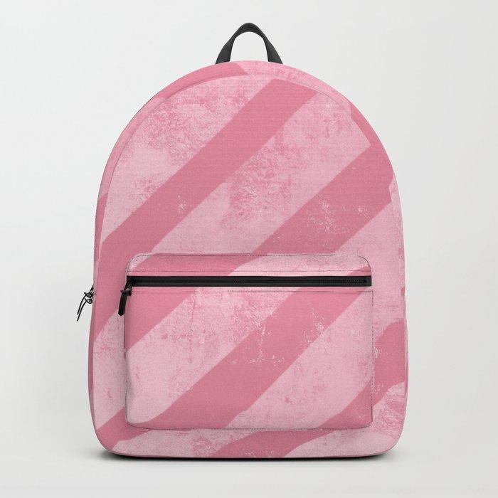 Soft Pink Paint Roller Diagonal Stripes Pattern Backpack