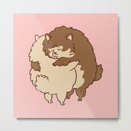 Pomeranian Hugs Metal Print