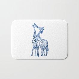 Giraffes kiss art Bath Mat