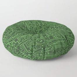 Circuit Board // Light on Dark Green Floor Pillow