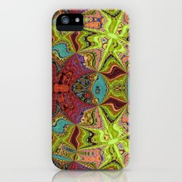 Kaleidoscope Glass Art (Maroon, Yellow, Salmon, Teal, Red) iPhone Case