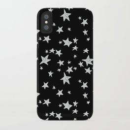 Linocut black and white stars outer space astronauts minimal iPhone Case
