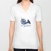 how i met your mother V-neck T-shirts featuring How I Met Your Mother - Blue French Horn by Victoria Schiariti