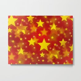 Seamless Christmas Stars Metal Print