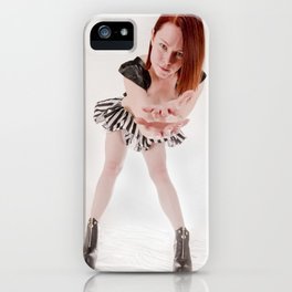 0895s-MM Megan Reaching Out in Striped Dress, Leather Halter, Black Boots iPhone Case