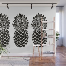 Pineapple Trio | Three Pineapples | Pineapple Silhouettes | Black and White | Wall Mural