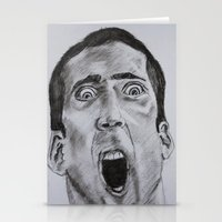 nicolas cage Stationery Cards featuring NICOLAS CAGE in CHARCOAL face/off face off film movie cult by Radiopeach