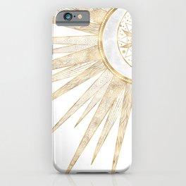 Elegant Gold Doodles Sun Moon Mandala Design iPhone Case