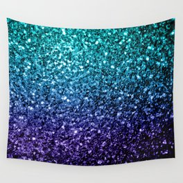 Beautiful Aqua blue Ombre glitter sparkles Wall Tapestry