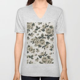 Country chic vintage black white bohemian floral Unisex V-Neck