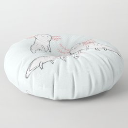 Three Little Axolotls Floor Pillow