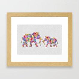 Floral Elephants Framed Art Print