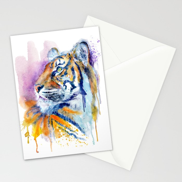Young Tiger Watercolor Portrait Stationery Cards