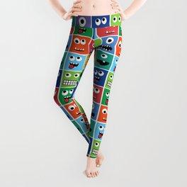 Cute Kids Monster Face Pattern Leggings
