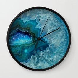 Teal Druzy Agate Quartz Wall Clock