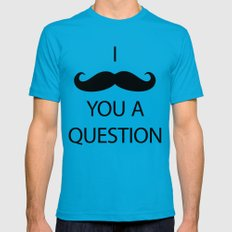 I Mustache You a Question Teal Mens Fitted Tee MEDIUM