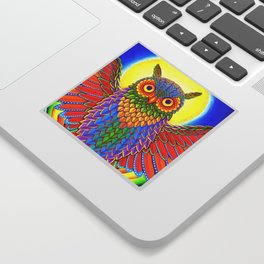 Colorful Rainbow Owl Sticker