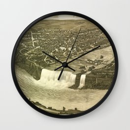 NIAGARA FALLS New-York city old map Father Day art print poster Wall Clock
