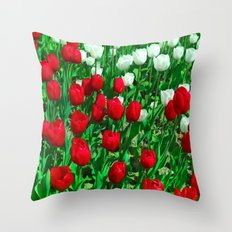 Tulips Flowers, Spring Blossom, red, white. Red flower, White flower. Worldwide Shipping Throw Pillow
