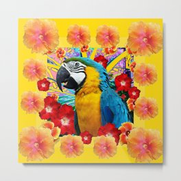 Tropical Blue Macaw Parrot & Hibiscus Flowers Metal Print