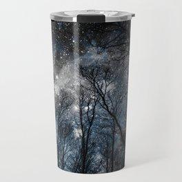 Black Trees Steel Blue Gray Space Travel Mug
