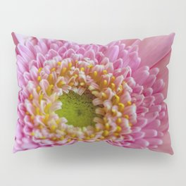 Pink Gerbera Flower in Detail with Yellow Bits Pillow Sham
