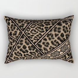 Leopard Fur with Ethnic Ornaments #3 Rectangular Pillow