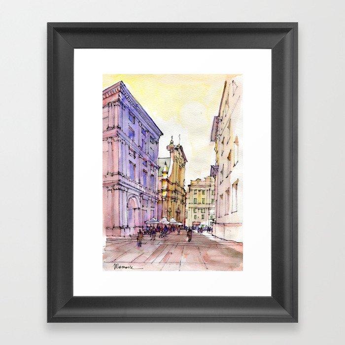 Scorcio di Piazza De Ferrari , Genoa Framed Art Print