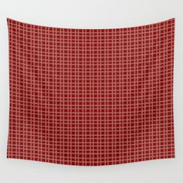 Decorative Bright Red Checkered Pattern Wall Tapestry