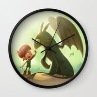 how to train your dragon Wall Clocks featuring How to Train Your Dragon Fan Art by Daniel Jervis Art