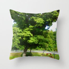 Wooden garden swing under maple tree Throw Pillow