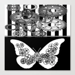 BLACK & WHITE CLOCKWORK BUTTERFLY ABSTRACT ART Canvas Print